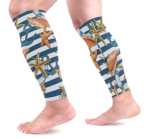 Anchor Calf Compression Sleeves,Leg Performance Support for Shin Splint Calf Pain Relief Men & Women Guards Sleeves for Running Cycling 1 Pair