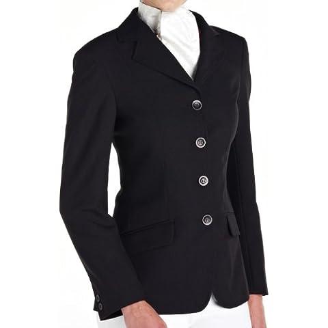 Caldene - Giacca da concorso classica per equitazione, con tessuto Easy Care, da bambina, nero (nero), 76 cm - 76 Blazer