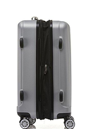 BEIBYE TSA-Schloß 2080 Hangepäck Zwillingsrollen Reisekoffer Koffer Trolley Hartschale Set-XL-L-M(Boardcase) (Silber, M) - 3