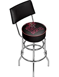 NCAA Ohio State University Smoking Brutus Padded Swivel Bar Stool with Back by Trademark Gameroom