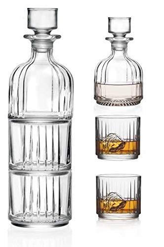 Whiskykaraffe mit 2 Gläsern - stapelbar - doppeltes altmodisches Trinkglas - DOF - Bleifreier Kristall - Dekanter ist 340 ml Jede D.O.F. Trinkglas, 340 ml - by Barski - Made in Europe -