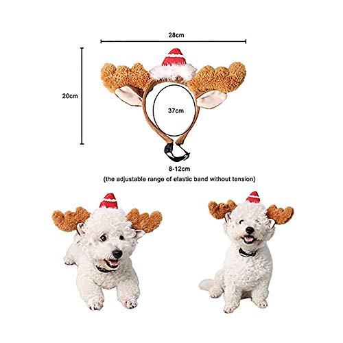 TKHCOLDM Haustier Hund Zubehör Weihnachtsmütze Rentierhut Weihnachtsmann Warmer Schal lustige Katze Kostüm Weihnachtskostüm Welpenkostüm Neujahr - EC6