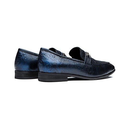 OPP Hommes Décoration Métal Mocassin Mode Chaussures de Conduite Bleu