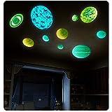 Adhesivos de pared luminosos YOUNING, 9 planetas luminosos, adhesivos de pared con patrón del sistema solar, decoración de paredes, dormitorio infantil, sala para bebés, jardín de infancia