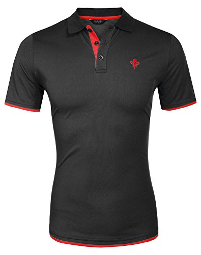 Coofandy Men's Casual Short Sleeve T-Shirt Contrast Color Polo Shirts