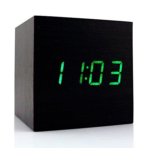 candora Alarm clock-latest Design Fashion Holz Cube Mini mit LED Holz Digital Wecker–Zeit Temperatur Datum Display–Stimme und Touch aktiviert für Kid, Zuhause, Büro, Leben, schwere Schläfer, holz, schwarz, 60*60*60mm (Bluetooth Nähe Alarm)