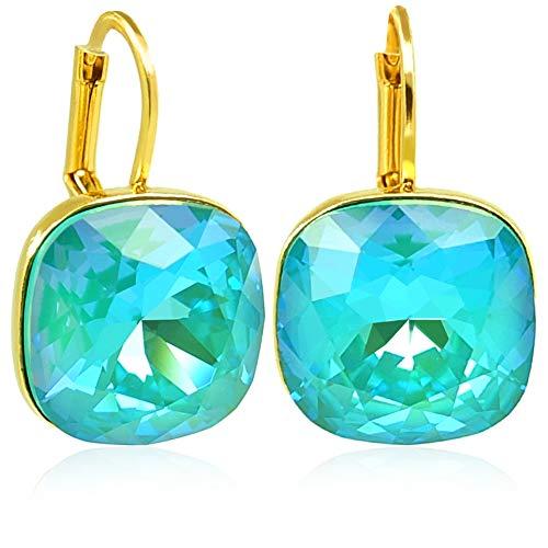 Ohrringe Gold Türkis mit Kristalle von Swarovski® NOBEL SCHMUCK (Türkis Gold Und)