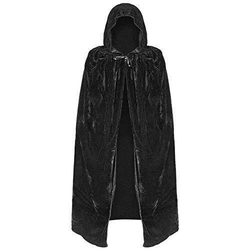 Black Velvet Hexe Kostüm - GLXQIJ Unisex-Umhang Mit Kapuze Cape Robe Velvet Devil Witch Wizard Halloween Weihnachten Cosplay Kostüme Für Erwachsene,Black,L