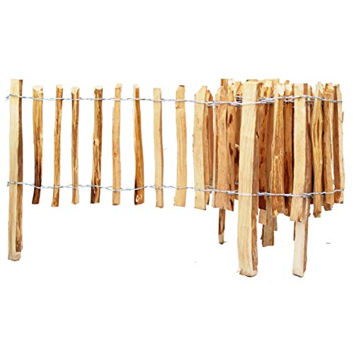 BOGATECO Haselnuss Roll-Steckzaun aus Holz | 60cm Hoch & 500cm Lang | Holz-Zaun | Lattenabstand 4-5cm | Staketenzaun Perfekt als Beet-Umrandung oder...