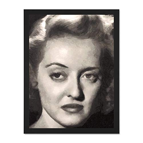 Doppelganger33 LTD Painting Portrait Movie Film Actress Bette Davis Icon Large Framed Art Print Poster Wall Decor 18x24 inch Supplied Ready to Hang -
