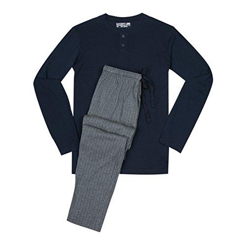 Jockey XXL Pyjama navy mit grau gestreifter Hose, XL Größe:4XL (Herren-pyjama Gestreifter)