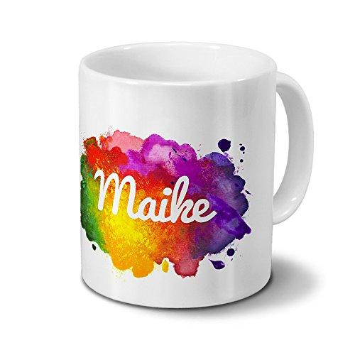 Tasse mit Namen Maike - Motiv Color Paint - Namenstasse, Kaffeebecher, Mug, Becher, Kaffeetasse - Farbe Weiß
