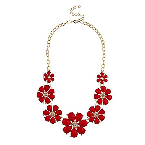 Lux Accessories Gold Tone and Red Pave Large Floral Flower