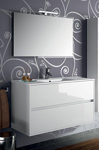 Yellowshop - mobile mobiletto da bagno sospeso in legno cm 100 completo di specchiera lampada led e lavabo in porcellana arredo modello noja 1000