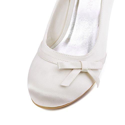 ElegantPark A0756 Scarpe da sposa con tacco Scarpeleganti donna Bianco (Ivory)