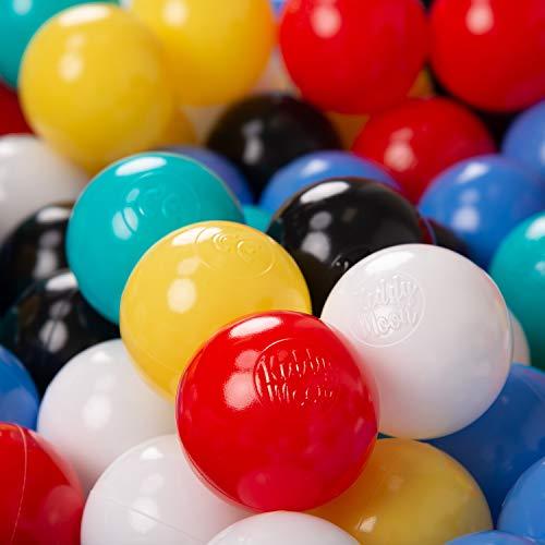 Kiddymoon 200 ∅ 6cm palline morbide colorate per piscina bambini fatto in eu, nero/bianco/blu/rosso/giallo/turchesa