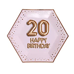 Neviti- Glitz and Glamour Birthday Pink & Rose Gold-Large Plate-Pink 20 Papel, Color Rose, 27 x 0.5 x 27 (774366)