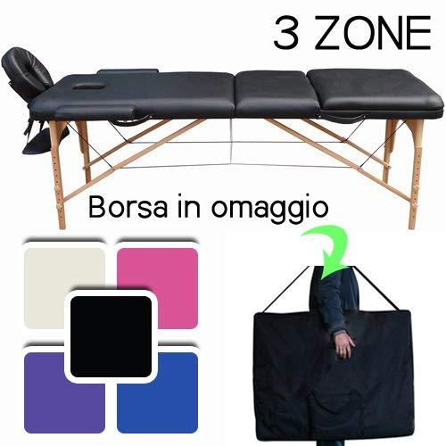 Lettino massaggio professionale lettino estetista 3 zone in legno dimensione xl 195 x 70 cm - lettini per da massaggi portatili pieghevoli (nero)
