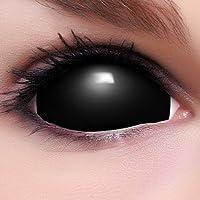 Black Sclera Kontaktlinsen in schwarz, weich ohne Stärke, 2er Pack inkl. Spiegelbehälter und 50ml Kombilösung - Top-Markenqualität, farbige angenehm zu tragen und perfekt zu Halloween oder Karneval