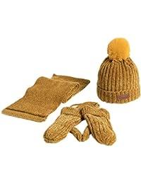 e79b7130c943a QUICKLYLY 3Pcs Gorro Bebé de Lana Tejido Invierno Grueso Sombrero para Niños  Y Niñas Bufanda Conjunto