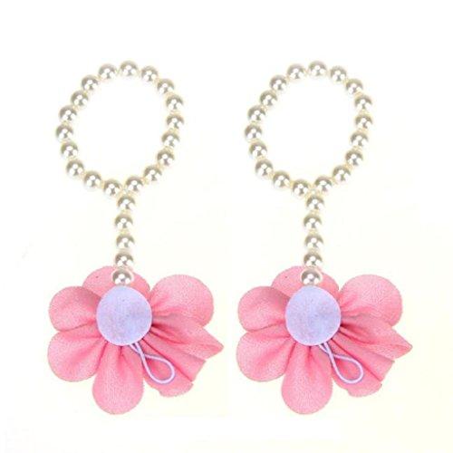 Barfuß Kleinkind Rosa Strand Blume Paar Fuß Perle Sandalen Xmansky 1 Säugling Chiffon qzPAxYnXwf