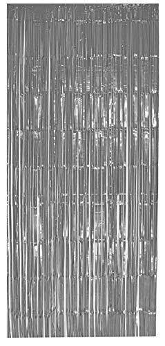 selbstklebender Lametta Vorhang in silber Größe 91 x 244 cm Perfekt als Party Deko Fenstervorhang Foto Hintergrund glitzer Vorhänge Metallfolie Goldfolie Streifenvorhang Fensterdekoration Tür Farbe Silber (Hollywood Stern Kostüm)