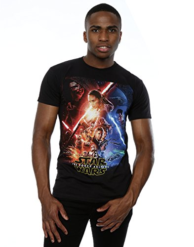 Star Wars Herren The Force Awakens Poster T-Shirt X-Large Schwarz