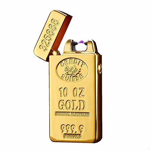 Emsmil USB Feuerzeug Mini Elektronisch Aufladbar Dual Arc Lichtbogen Zigarettenanzünder Winddicht Flammenlos Gold