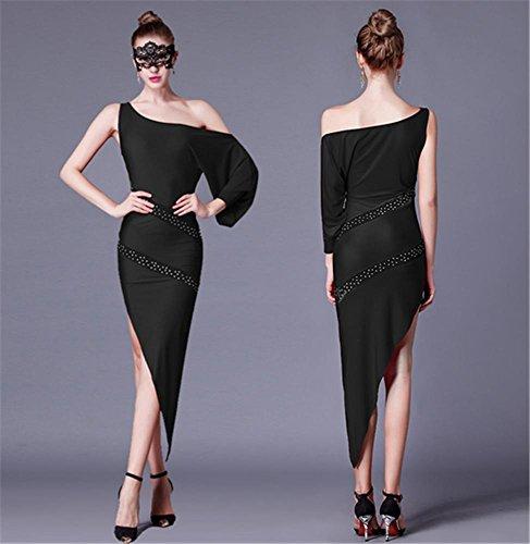 Femme robe de danse professionnelle latine / rouge épaule oblique noir Black