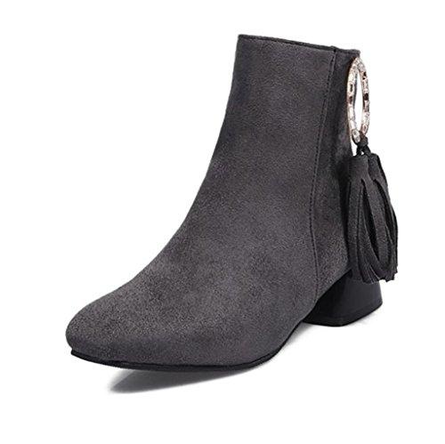 HETAO Talons de personnalité Womens Retro Fashion Elastic Ladies Bottines Chaussures Low Mid Block Heel Shoes Tempérament Chaussures Élégantes