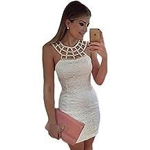 150a84bbc40a36 emmarcon Mini Abito da Cerimonia Donna Vestito Tubino Bianco Vestitino da  Festa Party