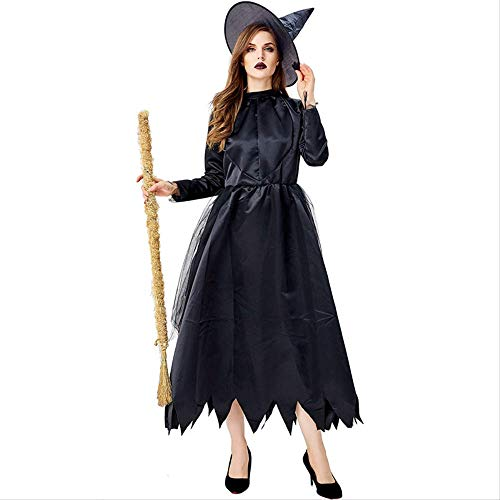 ZmnXnm Halloween Scream Night Kostüme, Horror Parade Kostüme Fort Hosts, Böse Hexen, Schwarze Unregelmäßige Röcke, Bühnenauftritte XL - Schwarz Kostüm Parade