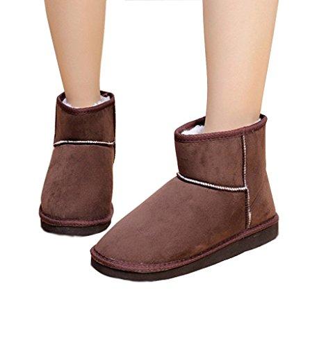 Minetom Femme Hiver Chaudes Bottines Classic Mini Chaud Chaussures Flats Snow Boots Footwear Café