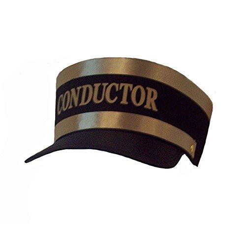 Nuevo Negro ingeniero tren Conductor Hat Cap Oro Trim Railroad adulto