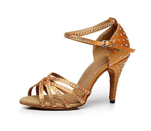 Minitoo, scarpe da ballo personalizzabili,con tacco alto, da donna, con cristalli, in raso, alla moda, QJ7028, Marrone (Brown), 35 EU