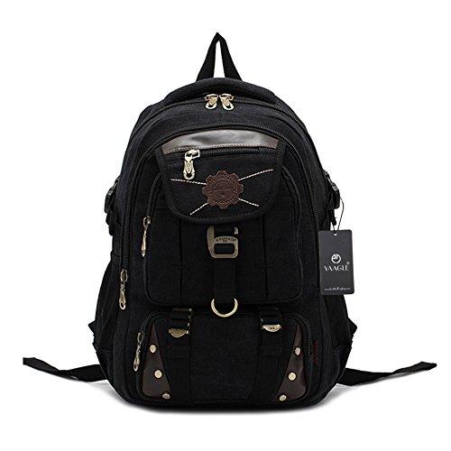 YAAGLE Outdoor Gepäck Herren Damen koreanisch Schüler Schultasche Rucksack Laptoptasche Reisetasche Bergsteigen Schultertasche-schwarz schwarz