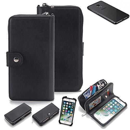K-S-Trade 2in1 Handyhülle für Meizu Pro 6S Schutzhülle & Portemonnee Schutzhülle Tasche Handytasche Case Etui Geldbörse Wallet Bookstyle Hülle schwarz (1x)