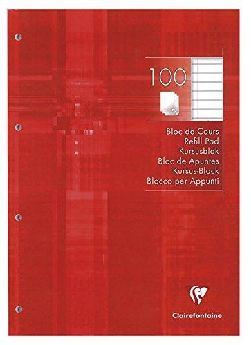 Clairefontaine 5818C - Un Bloc de Cours Perforé 4 Trous 200 Pages 21 x 29,7 cm 90 g Lignées avec Marge, Couverture Couleur Framboise