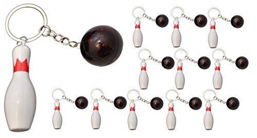 jameitop® Bowling Pin + Kugel 12 Stück Schlüsselanhänger Kegel Strike Set