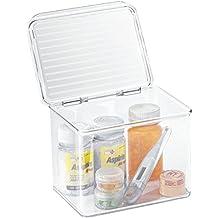 mDesign - Caja-organizadora para el cuarto de baño; guarda cosméticos, medicamentos - 14 cm x 17 cm x 12,5cm - Claro