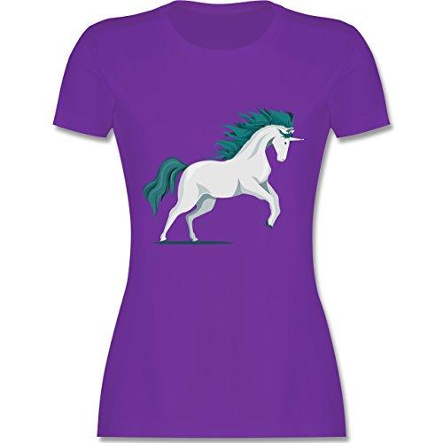 Shirtracer Einhörner - Steigendes Einhorn - Damen T-Shirt Rundhals Lila