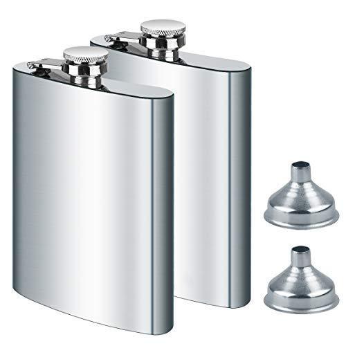 2X Flachmann Edelstahl und Trichter, 8oz.227 ml Flachmänner Set mit Geschenkbox Geeignet Zum Tragen von Alkohol