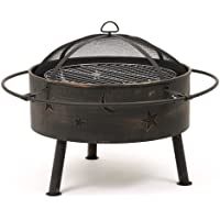 Astral Garden/Decking Firepit with Cooking Grill, and Moon and Stars Design Detailing