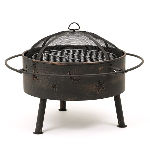 Trueshopping Astral Garden Patio 81 cm Fire Pit Log Charcoal Burner with attractive Moon & Stars Cut Outs BBQ Grid, Spark Cover and Weather Cover all included