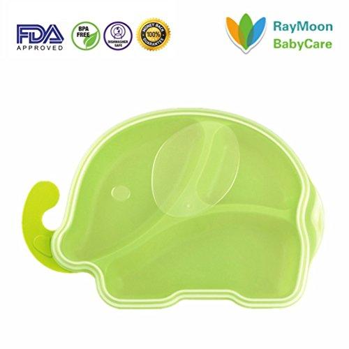 RayMoon Baby Elefant Tablett Aufgeteilte Teller Füttergeschirrset Platte Plastik mit Deckel Grün (Kinder-geteilte Platte)