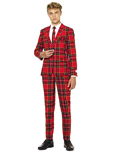 Für Kostüm Jungen Clevere - OppoSuits Weihnachtsanzüge für Jungen besteht aus Sakko, Hose und Krawatte, The Lumberjack, Rot, Gr. 158/164
