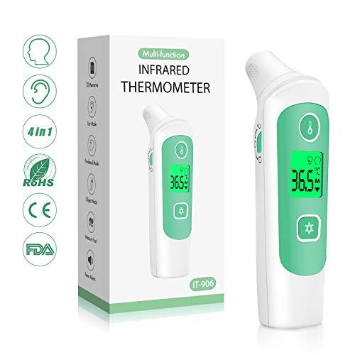 Fieberthermometer Stirnthermometer Ohrthermometer, Medizinisches Infrarot Digital Thermometer mit Fieberwarnung 4-IN-1 Thermometer für Baby Kinder Erwachsenen, 1 Sekunde Messzeit,CE FDA Zertifiziert