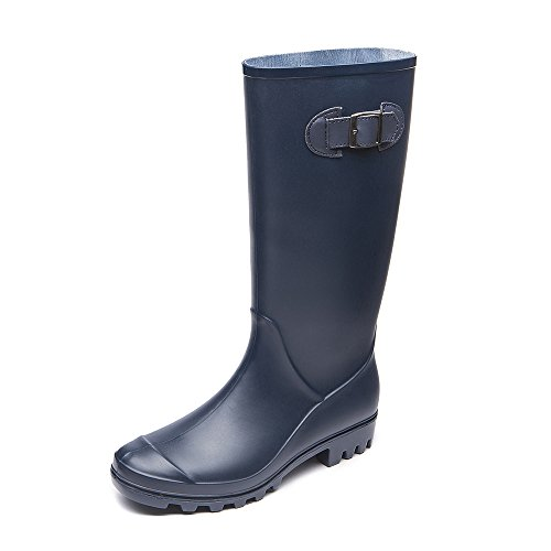 DKSUKO Womens Wellies Wellington Boots Waterproof Field Boots with Buckle for Ladies