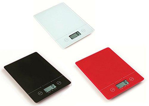 EXZACT EX9150 Super Sottile (1,4 cm) Bilancia Elettronica da Cucina/Bilancia Digitale – Piattaforma in Vetro Temperato – Pulsante Touch – Batteria Inclusa – 5kg/11lb (Rosso) lista dei prezzi