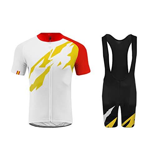 Uglyforg Bike Wear 2019 Herren Radtrikot Set Kurzarmtrikot mit Bib Sitzpolster Schutz für MTB Rennrad Fahrrad Jersey + Trägerhose Radsportanzug